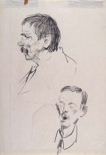 Silvio Rotta, two studies of a male head