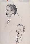 SILVIO ROTTA, Two Studies of Male Heads, black chalk