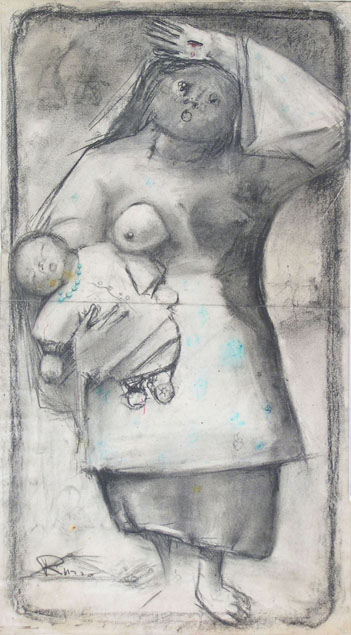 Mario Russo, standing mother with her baby