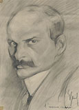 ENRICO SACCHETTI, Portrait of a Man with Moustache, possibly Lenin, black chalk