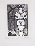 CHRISTIAN SCHAD, Dompteuse, 1915, woodcut