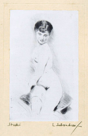 Lino Selvatico, seated female nude