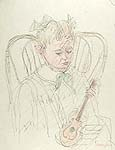PIO SEMEGHINI, Girl with a Guitar, pen and pastel