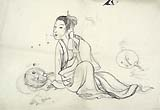 Shijo-style Artist, Seated Woman, black ink