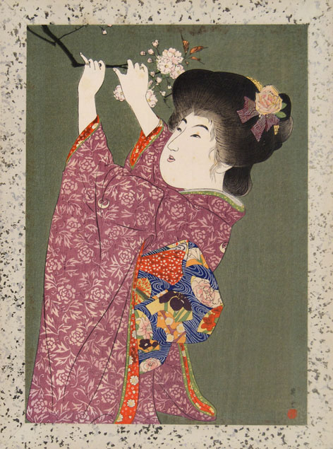 Shoun a bijin reaps a flowering branch