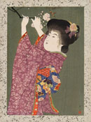 SHOUN, A Bijin Reaps a Flowering Branch, woodcut