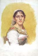 FILADELFO SIMI, An Umbrian Peasant Woman, watercolour