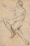 FRANCESCO SOLIMENA, Seated Male Nude, black chalk, a preparatory drawing for the painting 'Venus at the Forge of Vulcan', 1704, now at the Getty Museum.