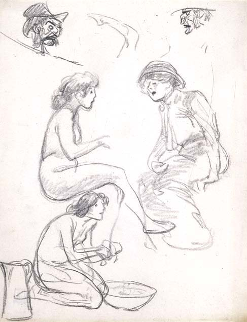Theophile Steinlen, studies of figures and heads