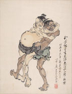 Anonymous Japanese Artist, 1883, Two Sumo Figthters, ink and watercolour