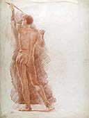 ARNALDO TAMBURINI Jr., Standing Male Nude Seen from Behind, red chalk