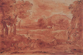 CARLO ANTONIO TAVELLA, Landscape with Shepherds and Herd, pen, washed in red