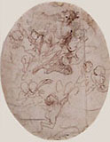 PIETRO TESTA, Flying Female Figure surrounded by Putti, pen