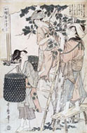 UTAMARO, Women Picking Mulberry Leaves, woodcut