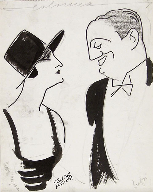 Mario Vellani Marchi, caricatural portraits of Vera Vergani and Ruggero Lupi