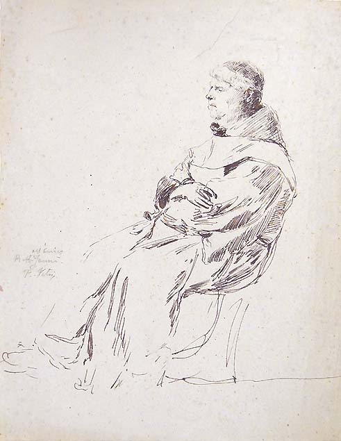 Paolo Vetri, a friar seated