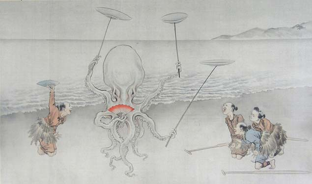 School of Yoshitoshi, an octopus juggling on a beach