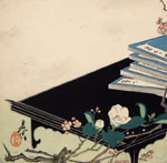 Zeshin, Still Life with Books and Flowers, woodcut