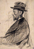 PORTRAIT OF A MAN WITH BEARD AND HAT, IN PROFILE