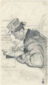 PORTRAIT OF THE ETCHER CELESTINO CELESTINI, DRAWING A PLATE