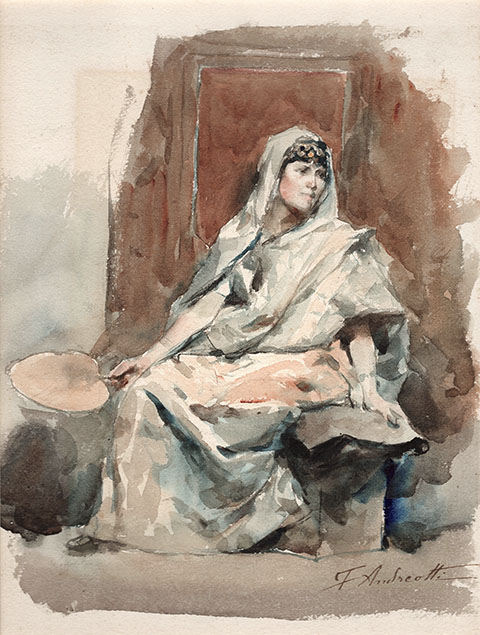 SITTING YOUNG WOMAN, IN ORIENTAL CLOTHES