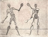 TWO HUMAN FIGURES MADE UP OF RACKETS AND BAGS OF BALLS