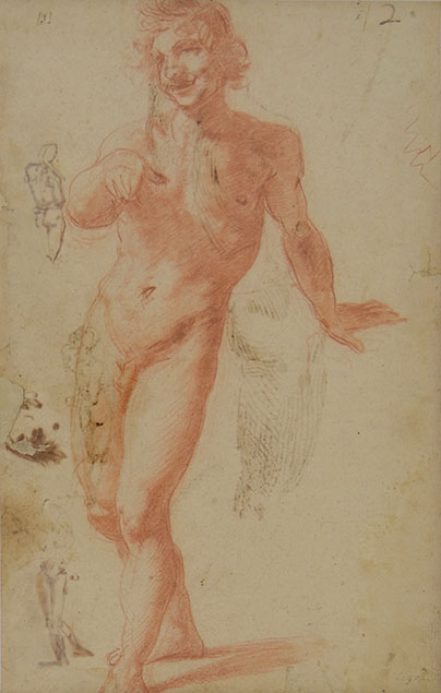 A NUDE WALKING TOWARDS THE SPECTATOR (recto); STUDIES OF NUDES (verso)