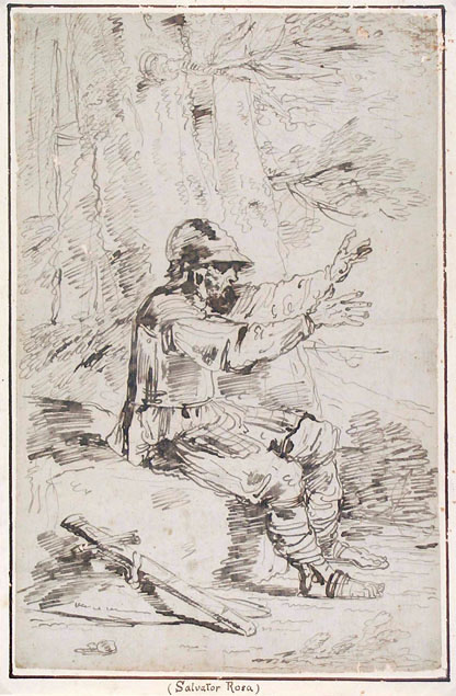 AN ARMED MAN, SEATED ON A ROCK