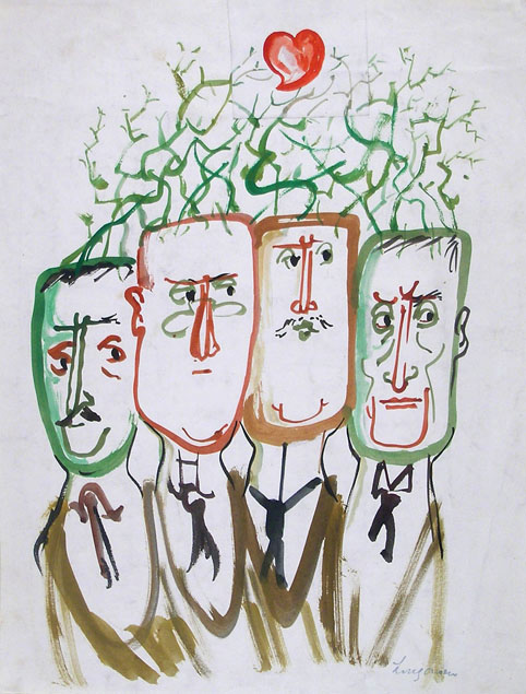 FOUR MALE CHARACTERS SPROUTING THORNY BRANCHES FROM THEIR HEADS (An Allegorical Drawing)