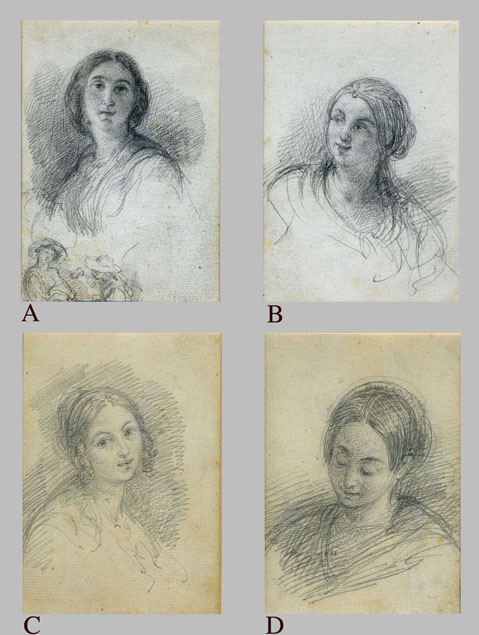 FOUR DRAWINGS OF FEMALE PORTRAITS