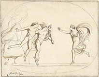 HERMES BRINGS PROTESILAUS BACK TO HIS WIFE LAODAMIA FROM THE UNDERWORLD
