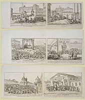 THE POPE VERSUS NAPOLEON, six etchings on three sheets