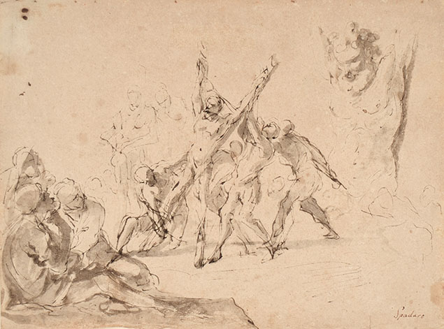 THE MARTYRDOM OF ST. ANDREW (on top right a sketch of the hanging Marsyas)