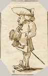 CARICATURE OF A MAN WEARING A TRICORN STANDING IN PROFILE TOWARD LEFT