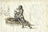 SKETCH OF A SEATED MAN AND SKETCH OF A PAINTING (recto); FIGURE STUDIES (verso)